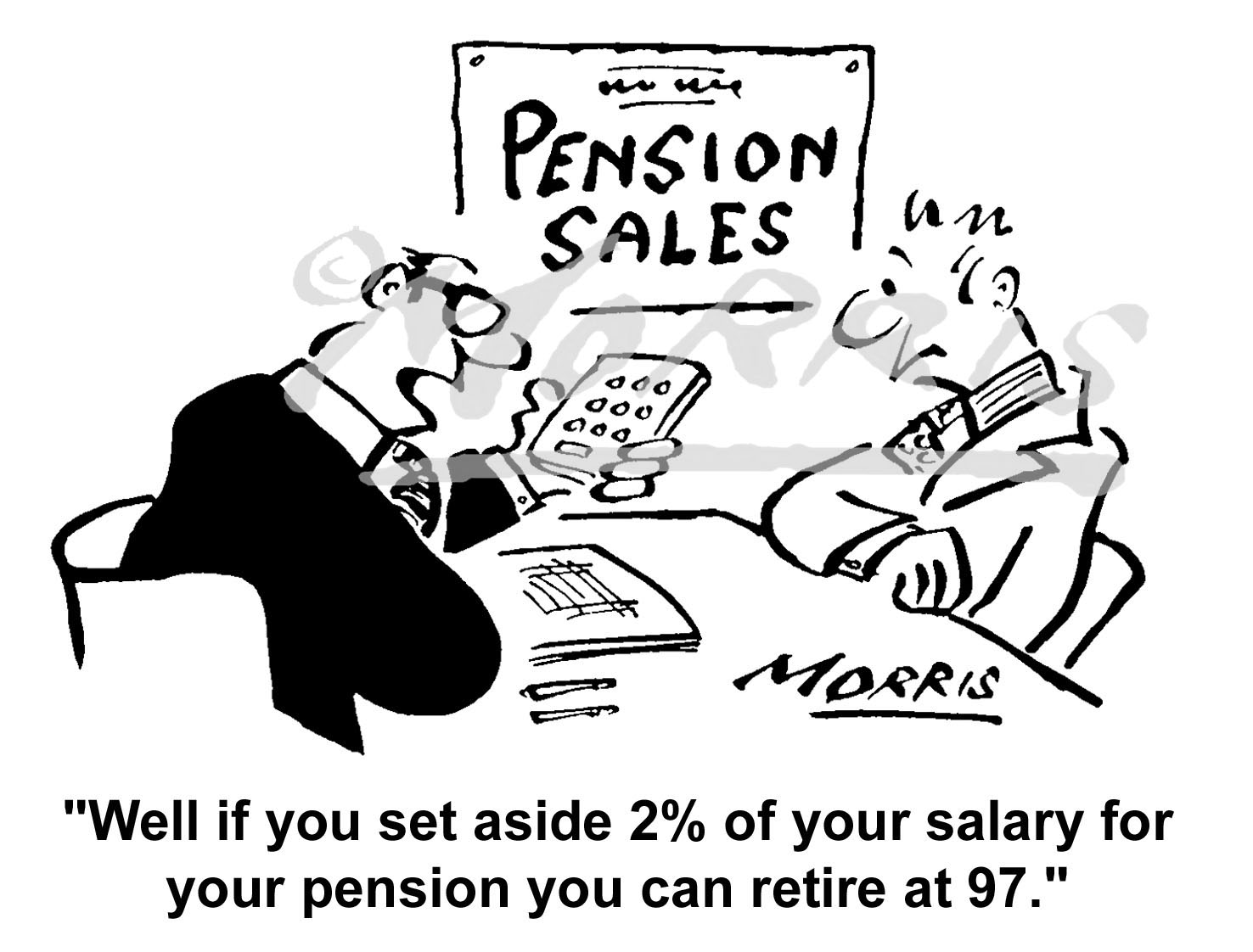 Pensions cartoon – Ref: 3890bw