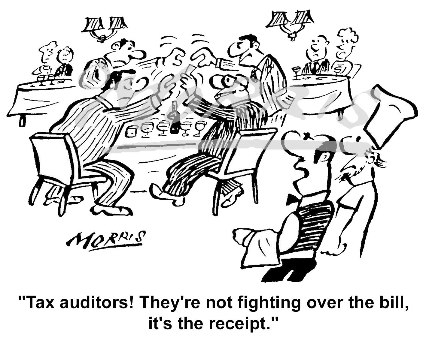 Tax Auditor receipt comic cartoon Ref: 4257bwus