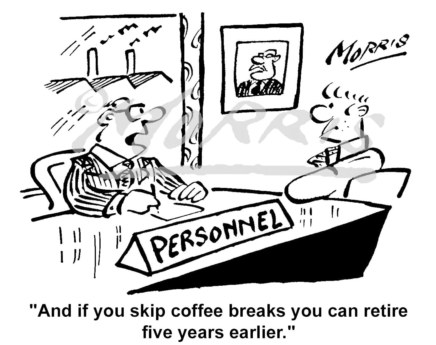 Retirement cartoon, Early retirement cartoon – Ref: 4285bw
