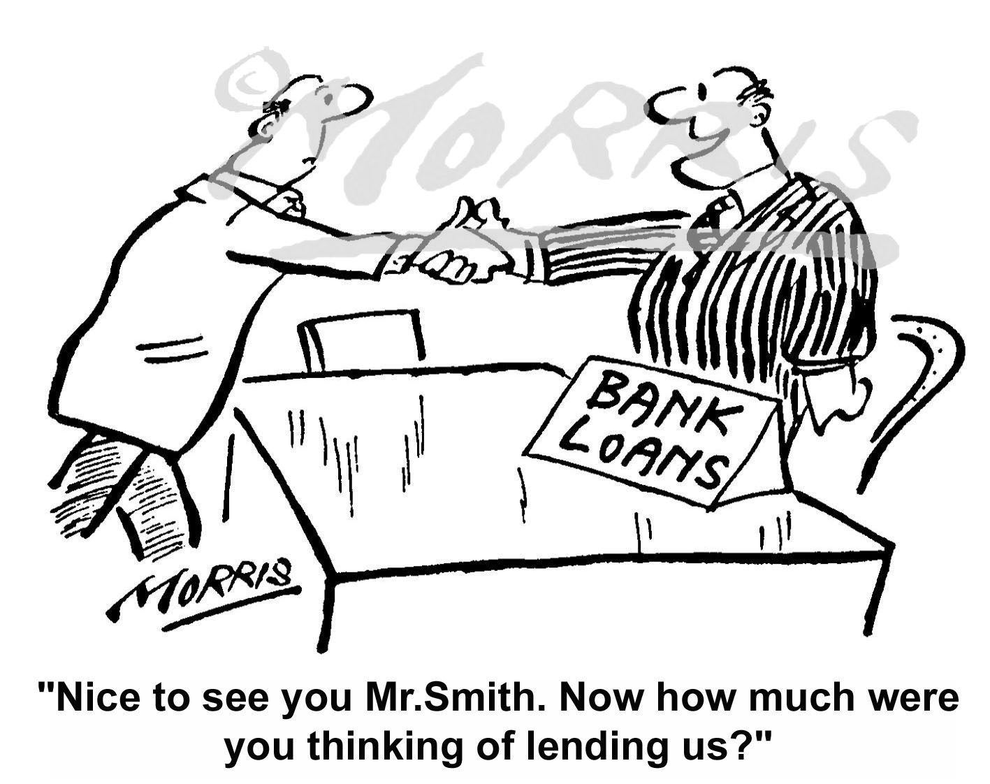 Bank cartoon, Banking cartoon, Bank loan cartoon and Bank manager cartoon – Ref: 4327bw