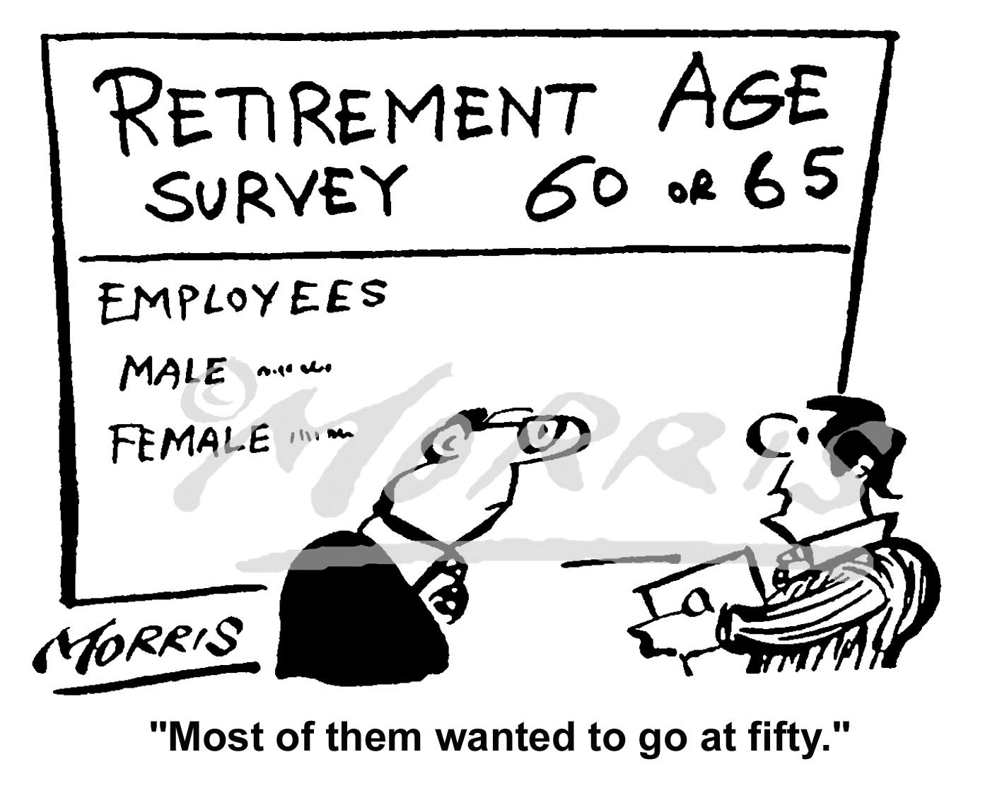 Retirement age survey cartoon Ref: 4547bw
