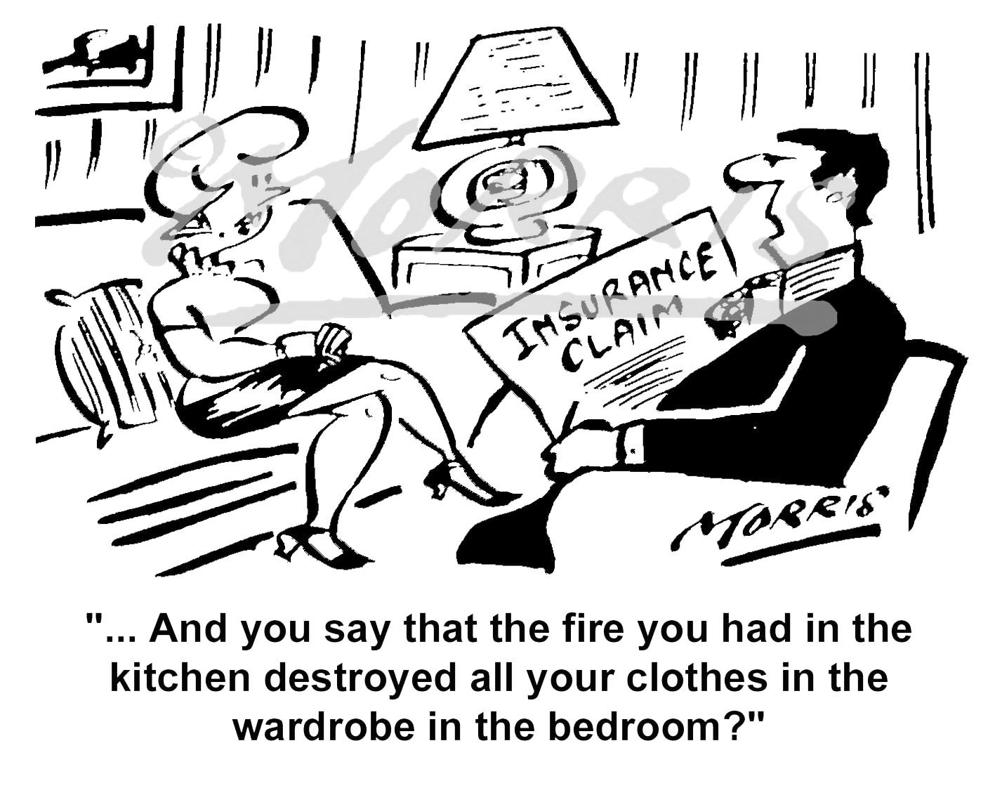 Home Insurance claim cartoon – Ref: 4587bw