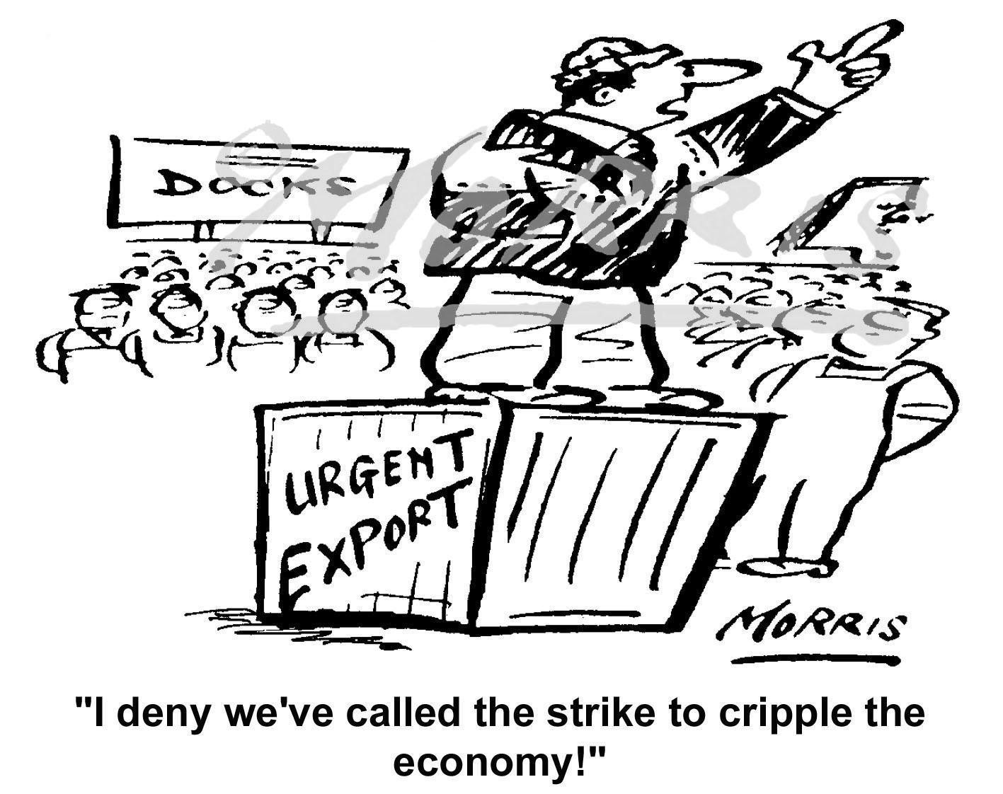 Strike action cartoon – Ref: 4605bw