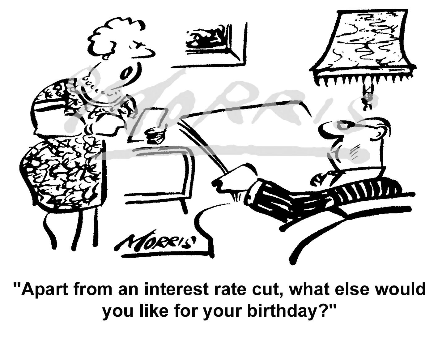 Interest Rate cut business cartoon: Ref – 4693bw