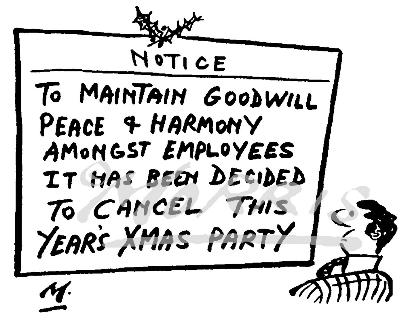 Office Christmas party cartoon Ref: 4698bw
