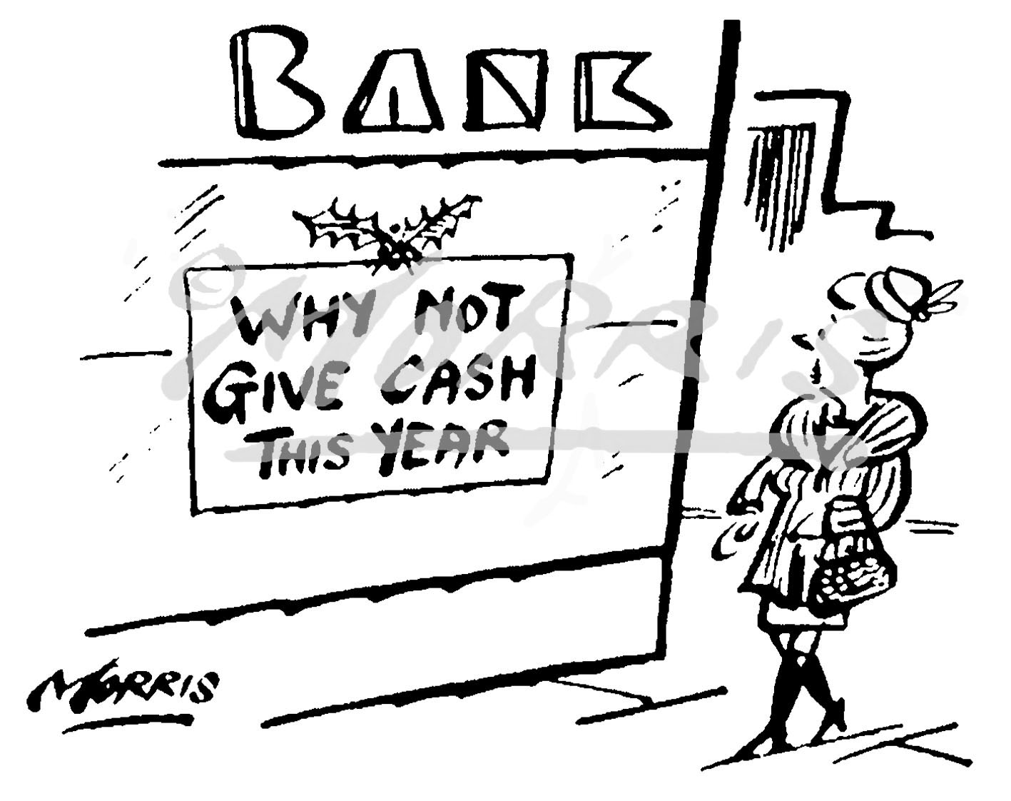 Christmas bank cartoon Ref: 4699bw