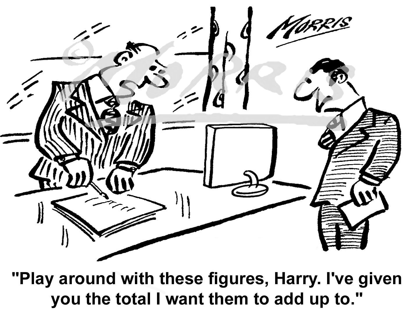 Manager cartoon, Management cartoon, Accountant cartoon – Ref: 4801bw