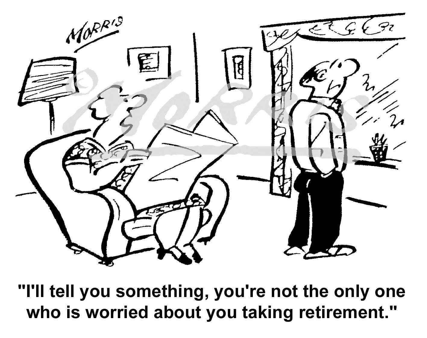 Retirement cartoon – Ref: 4883bw