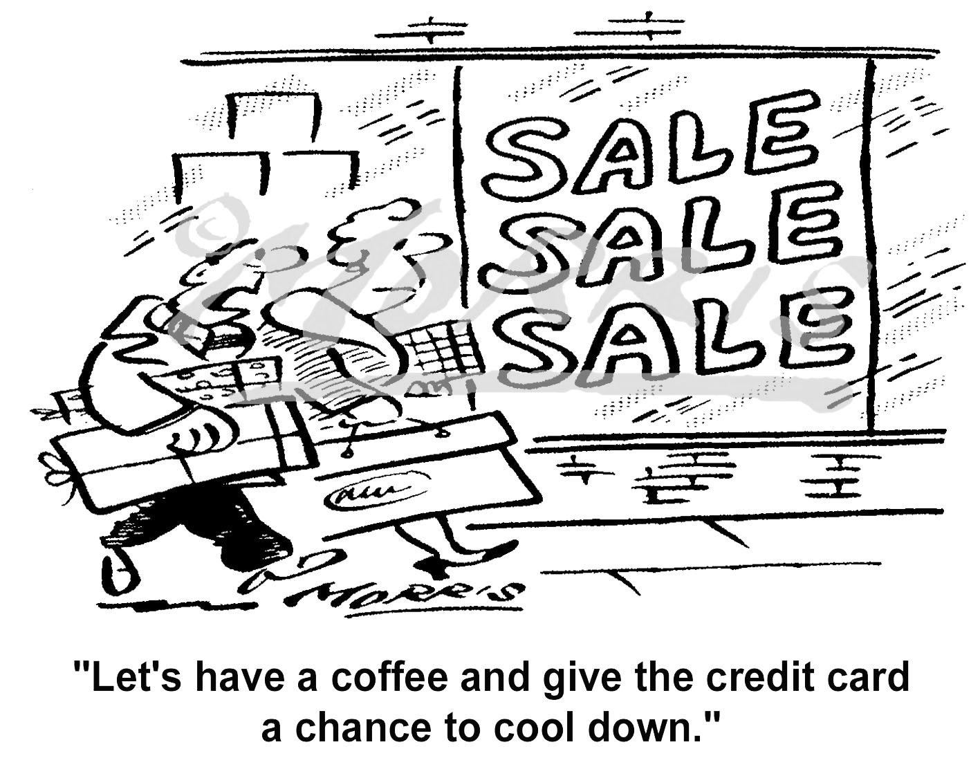 Credit card shopping cartoon – Ref: 4890bw