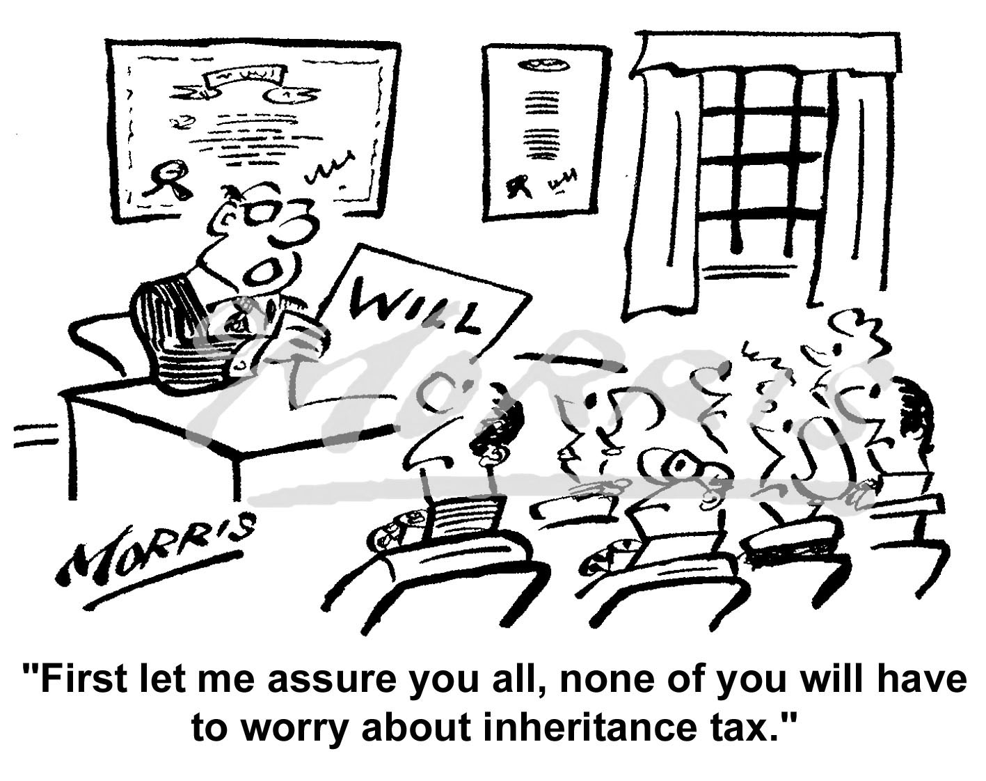 Inheritance tax cartoon – Ref: 4972bw
