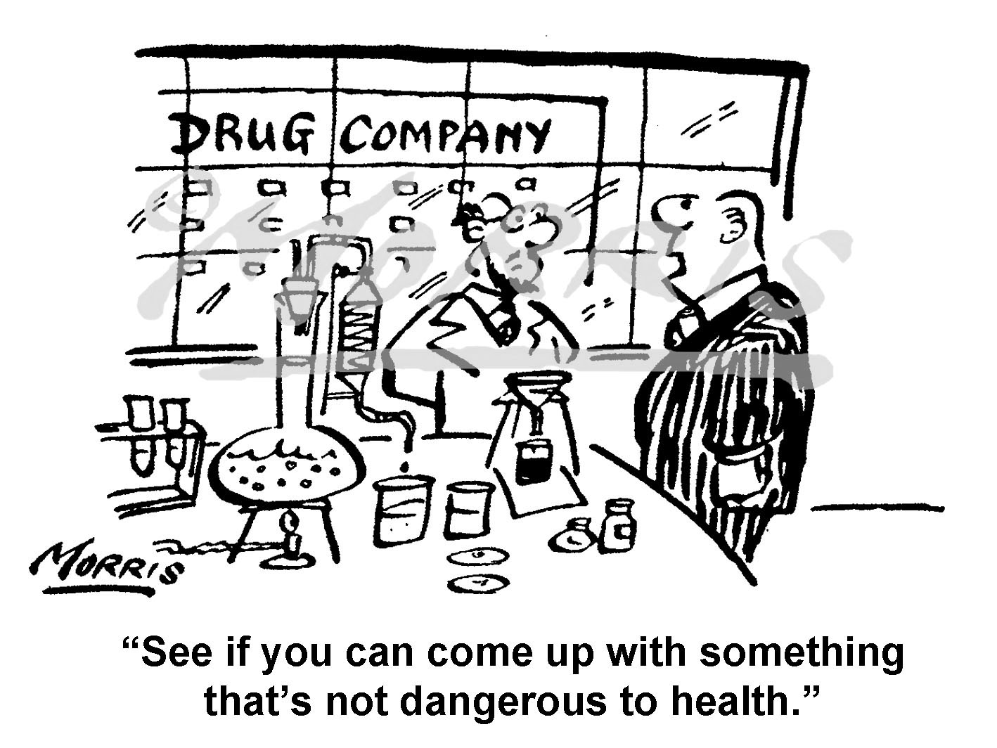 Drug company health cartoon – Ref: 5000bw