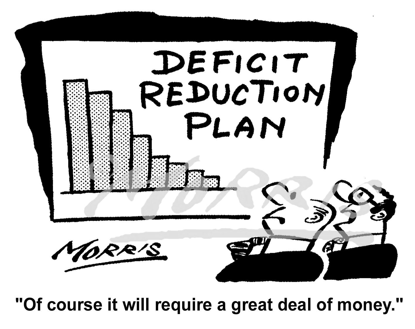 Company deficit reduction plan cartoon – Ref: 5022bw