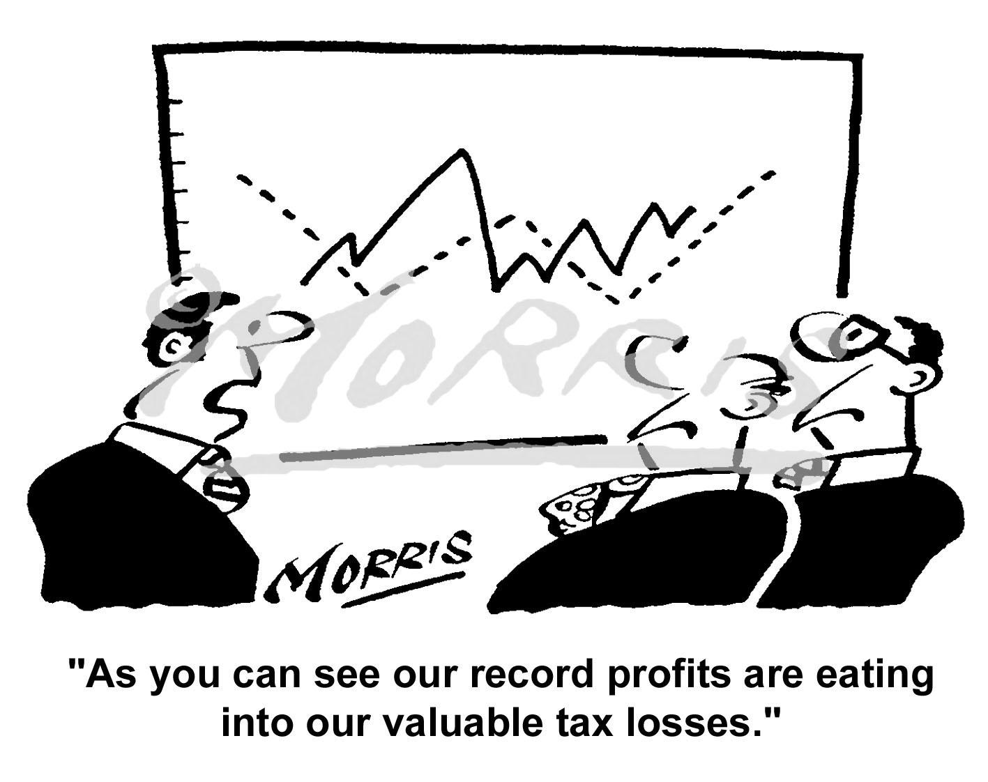 Record profits tax losses cartoon – Ref: 5041bw
