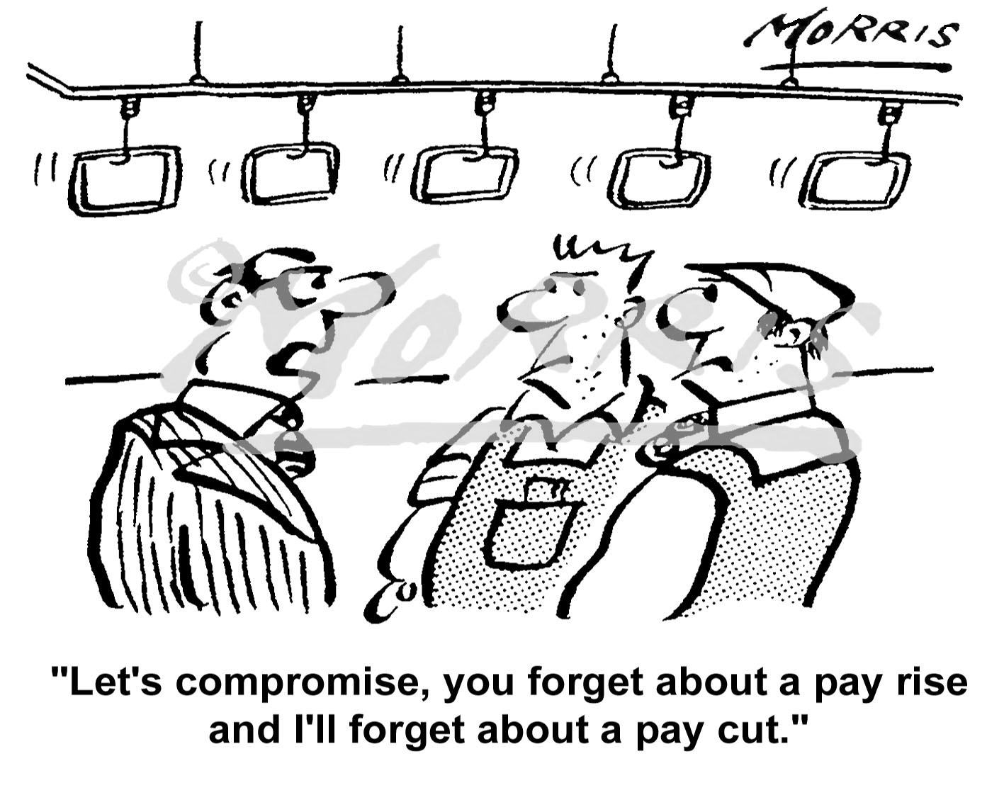 Management shop floor workers pay rise pay cut cartoon – Ref: 5042bw