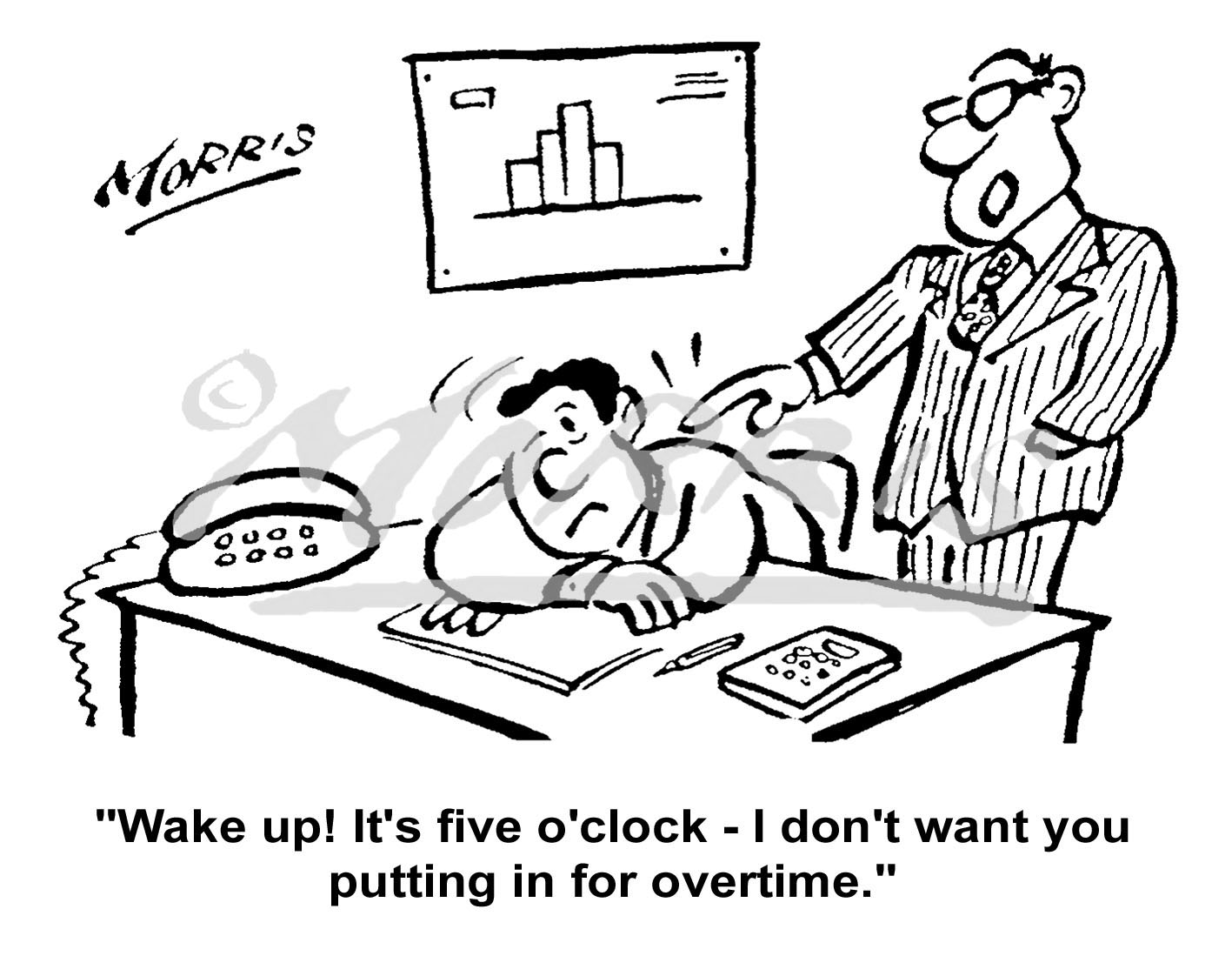 Manager office overtime cartoon – Ref: 5067bw
