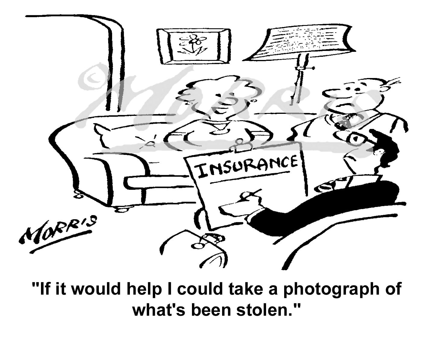 House contents insurance cartoon – Ref: 5068bw