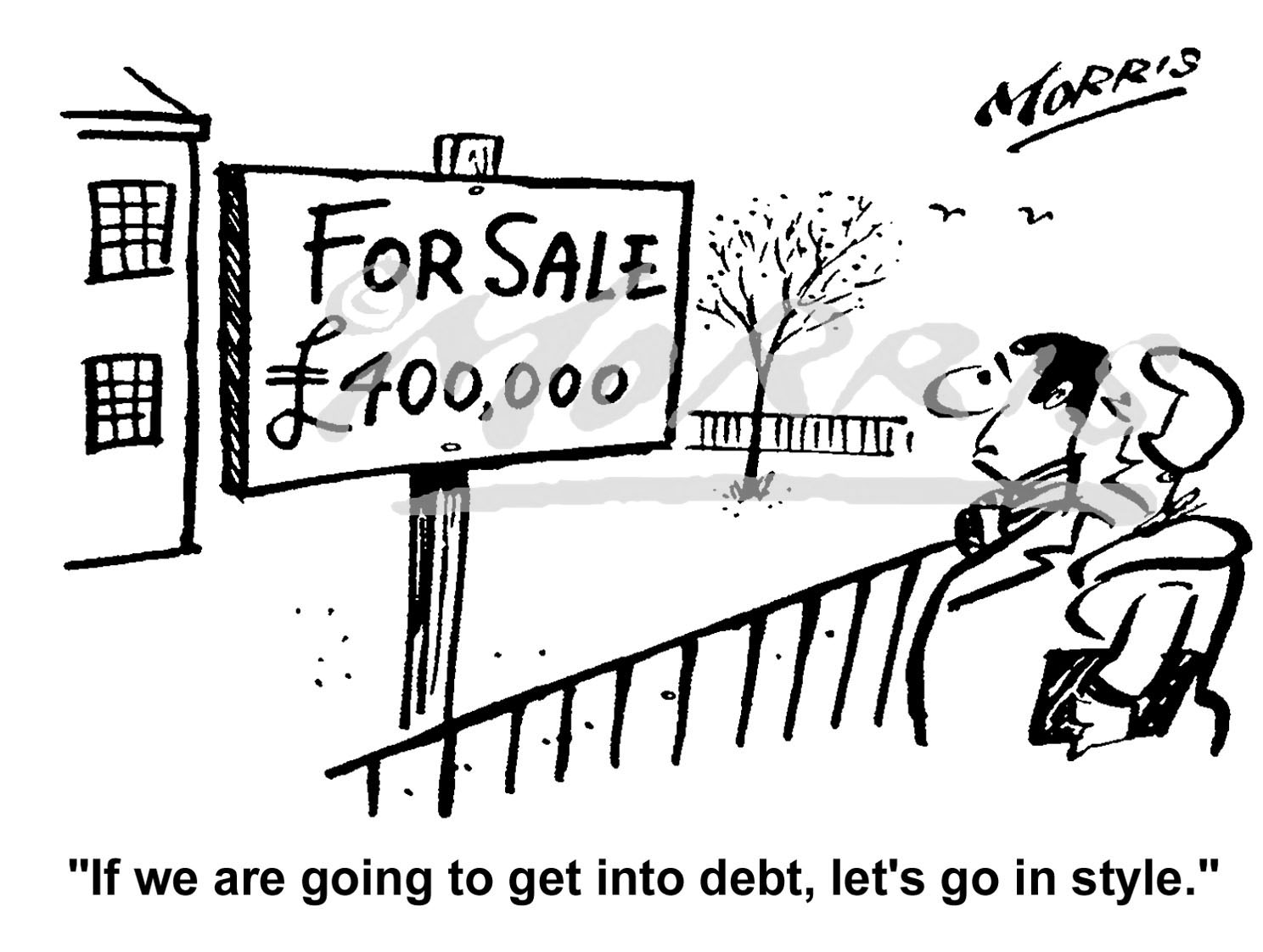House property sale cartoon – Ref: 5075bw