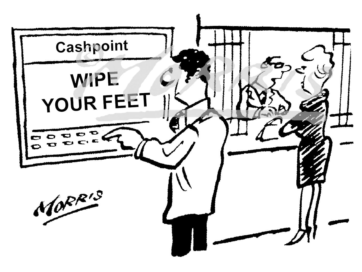 Cashpoint ATM withdrawal cartoon – Ref: 5077bw