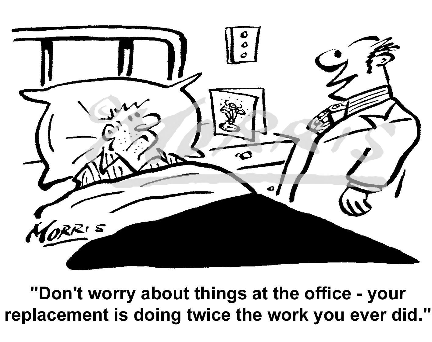 Office worker/staff workload cartoon – Ref: 5079bw