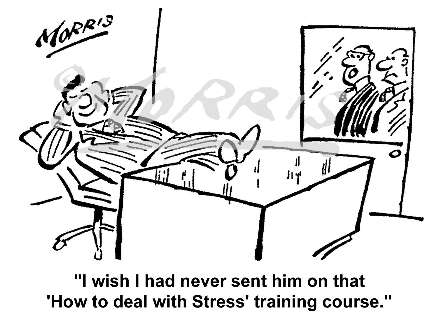Office stress training course cartoon – Ref: 5086bw
