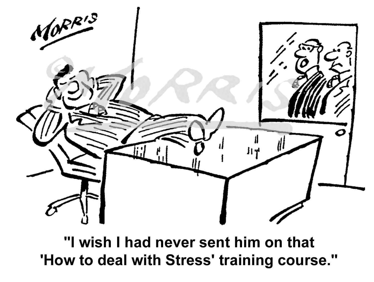 Office stress training course cartoon – Ref: 5086bw