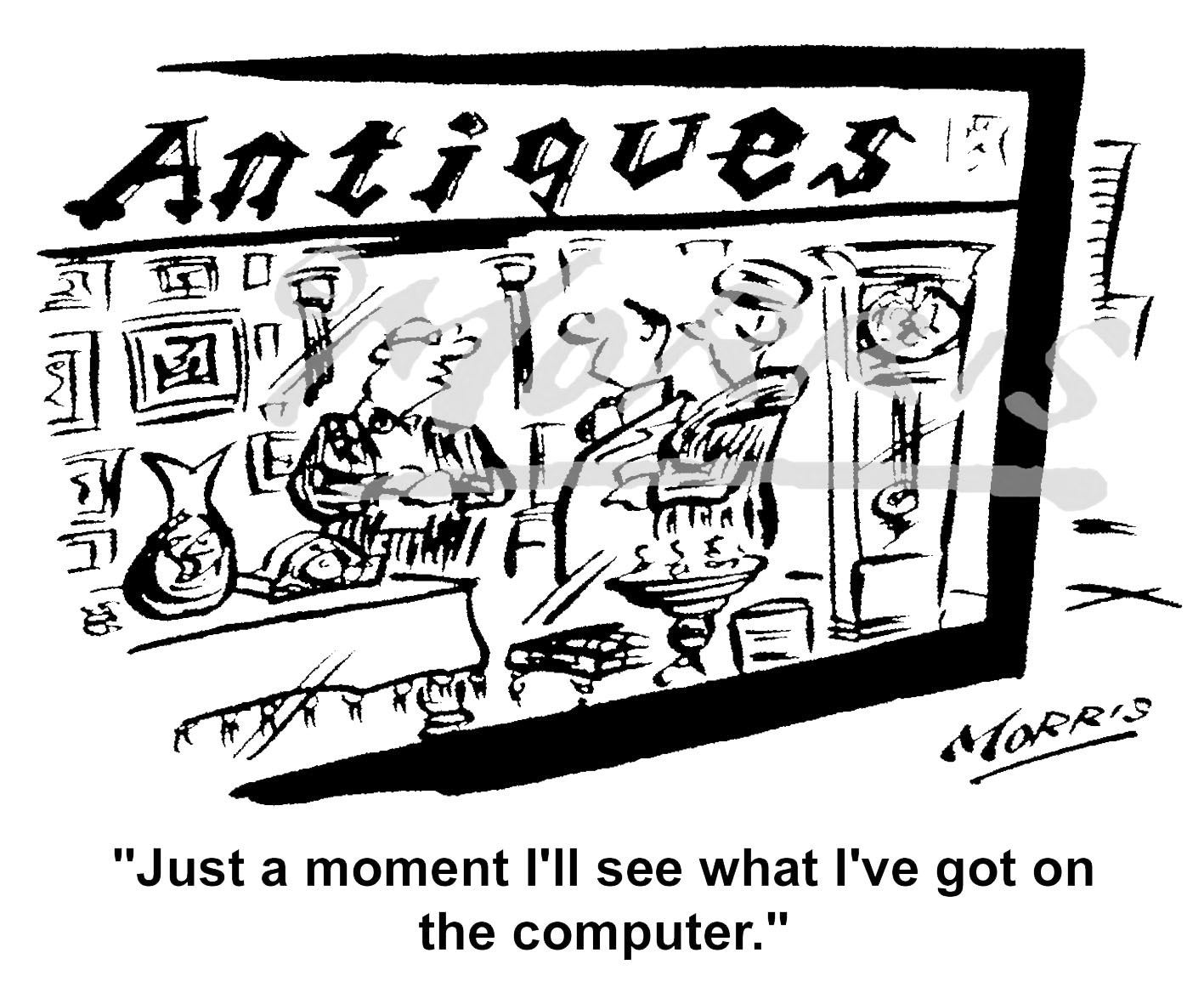 Antiques shop computer cartoon Ref: 5093bw