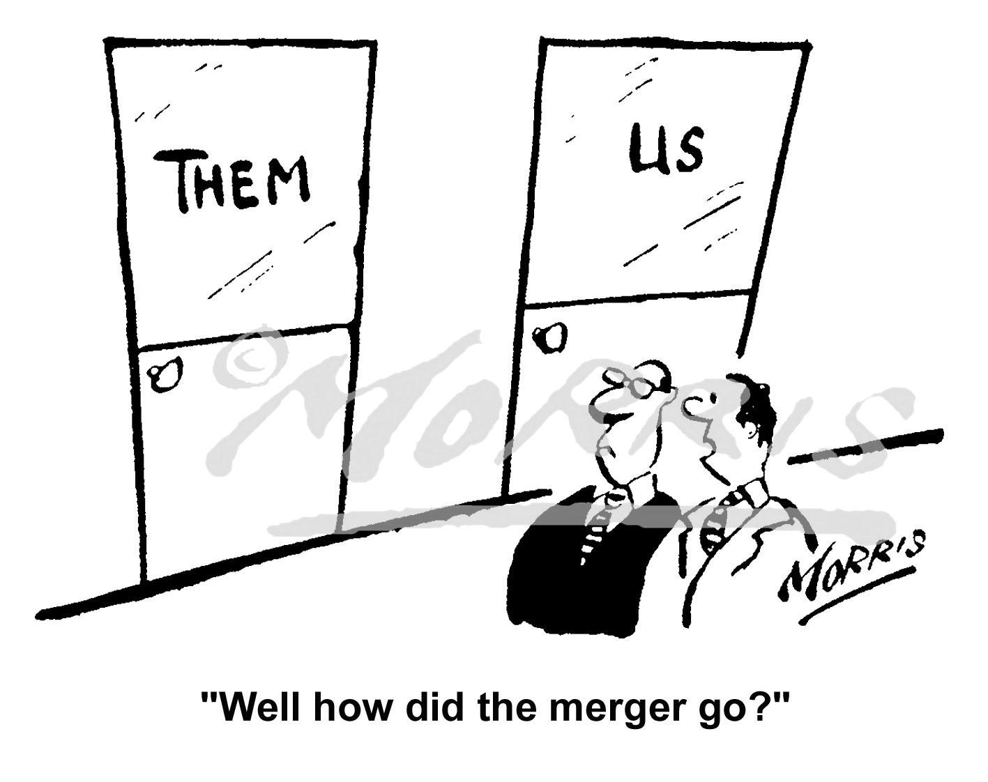 Company merger cartoon – Ref: 5126bw
