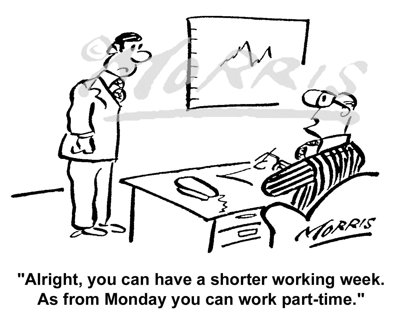 Shorter working week cartoon, reduced hours comic cartoon – Ref: 5142bw