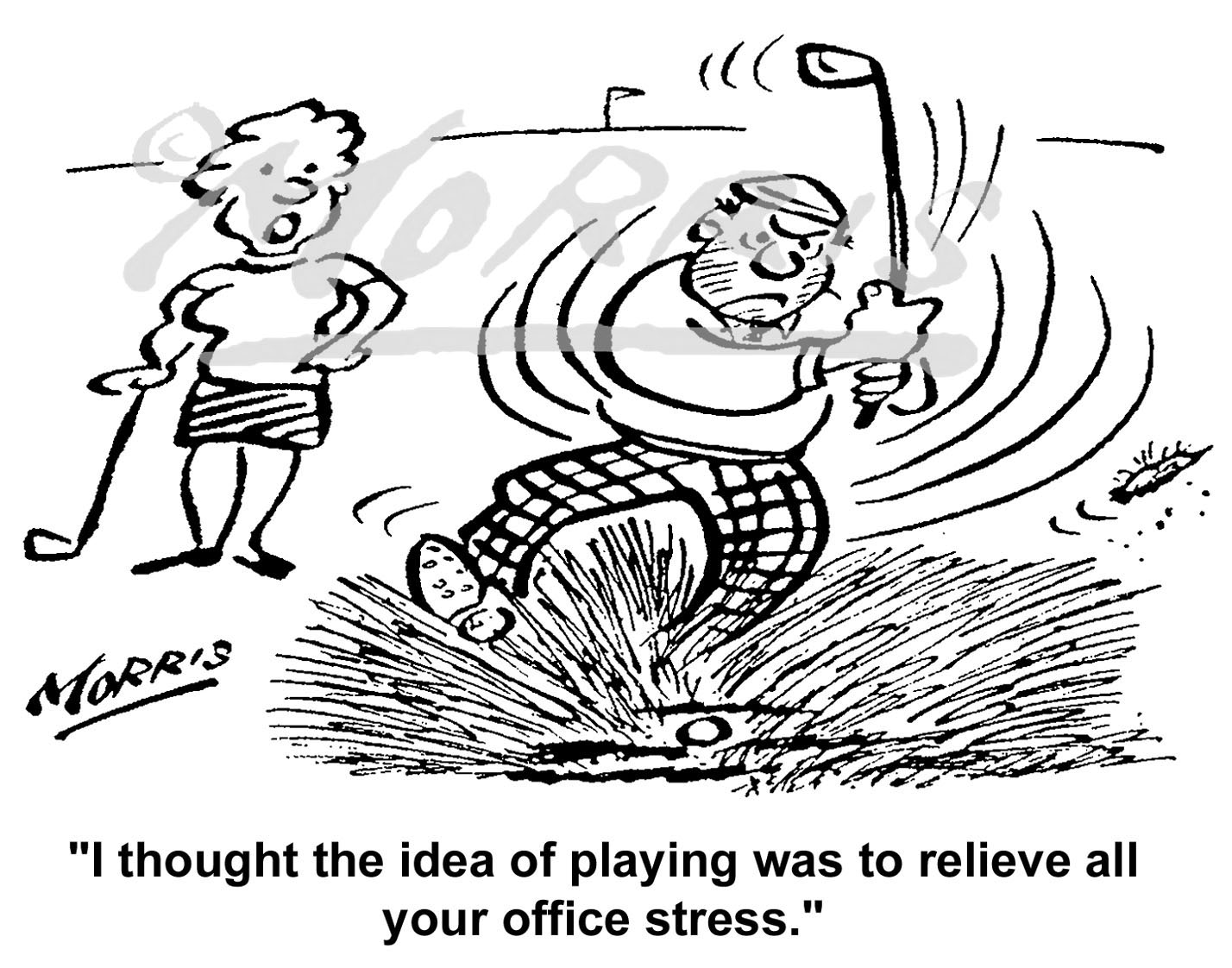 Stress in the office and workplace cartoon, Golf cartoon and Golfing cartoon – Ref: 5208bw