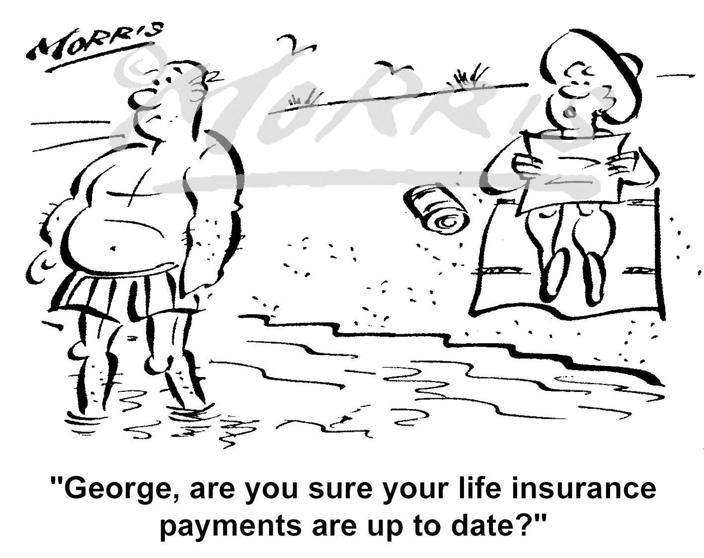 Life insurance cartoon – Ref: 5339bw