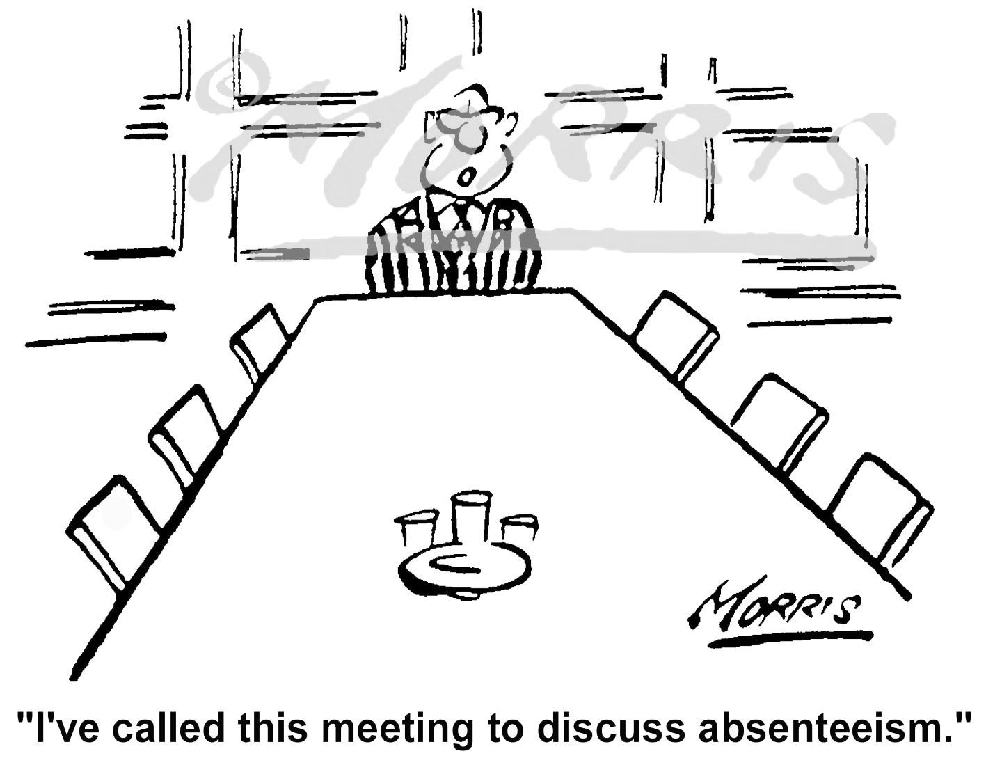 Boardroom cartoons, Boardroom meeting cartoon and Managing absenteeism cartoons – Ref: 5346bw
