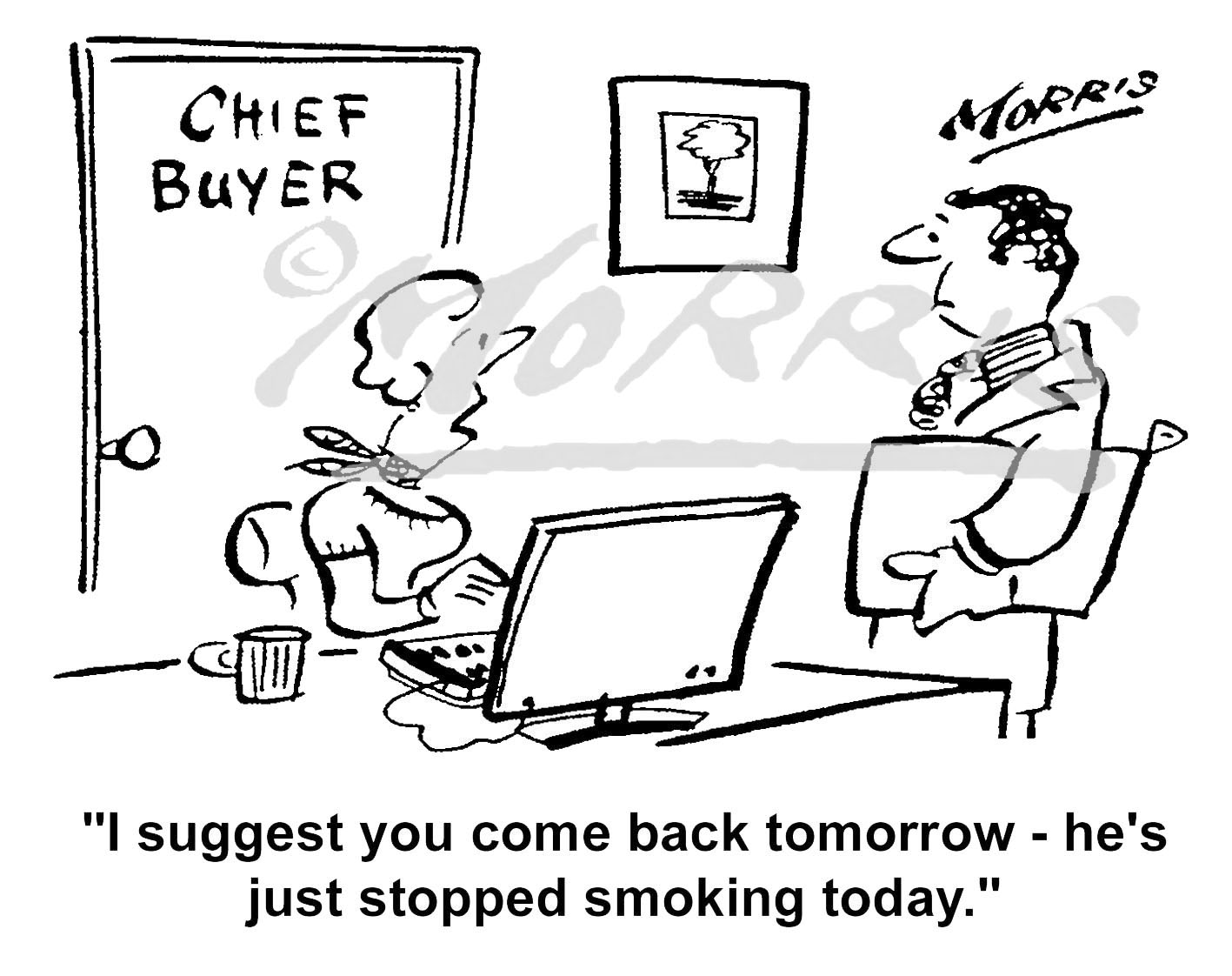 Chief Buyer smoking cartoon – Ref: 5371bw
