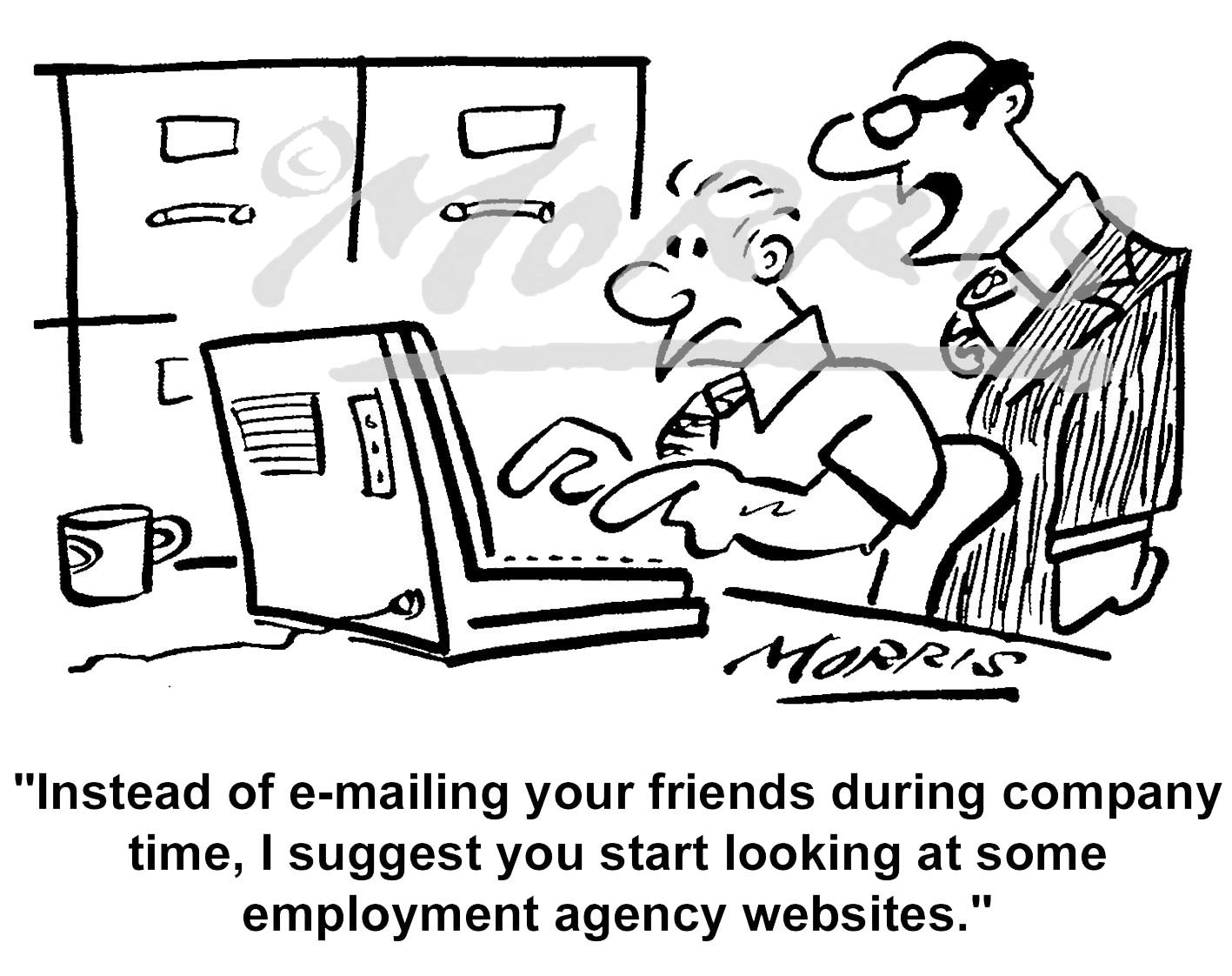 Boss, employee and employment agency cartoon – Ref: 5372bw