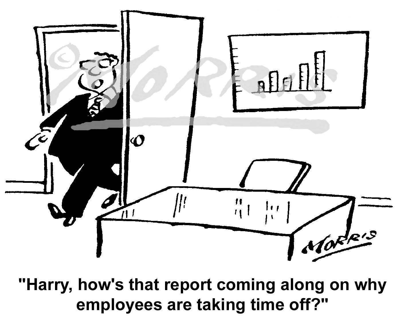 Employees time off from work cartoon – Ref: 5387bw
