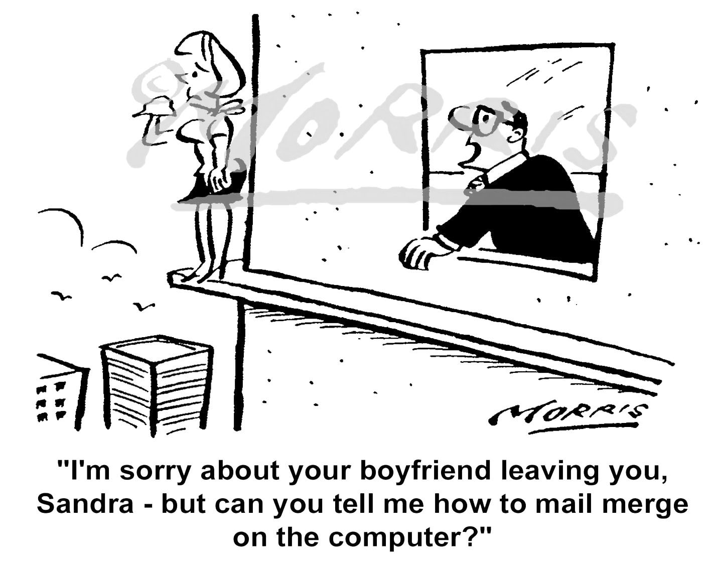 Mail merge cartoon, PA cartoon, Boss cartoon – Ref: 5397bw