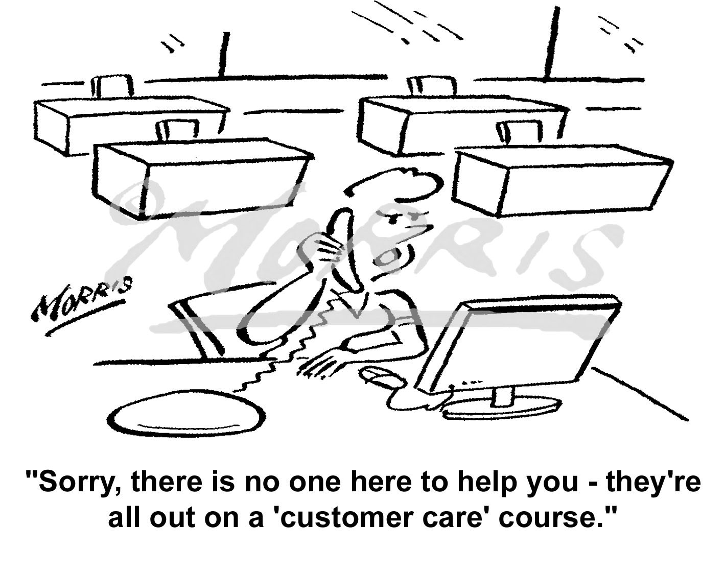 Business course and Customer service cartoon – 5649bw