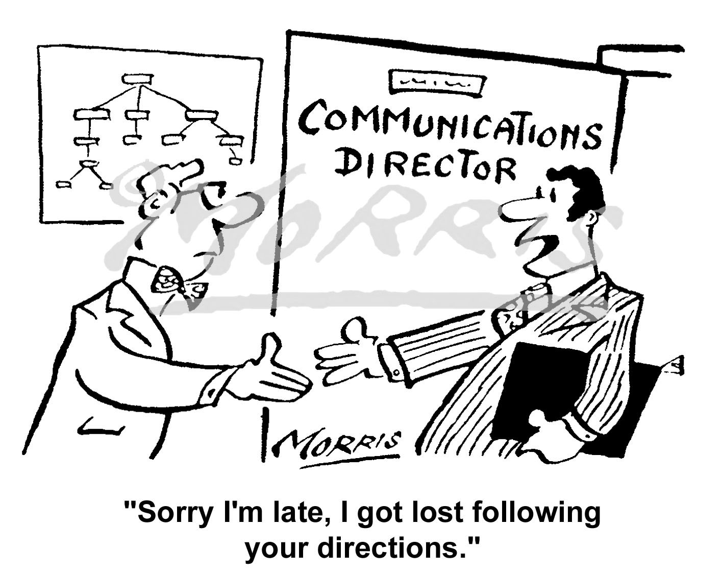 Communications Director comic cartoon – Ref: 5856bw