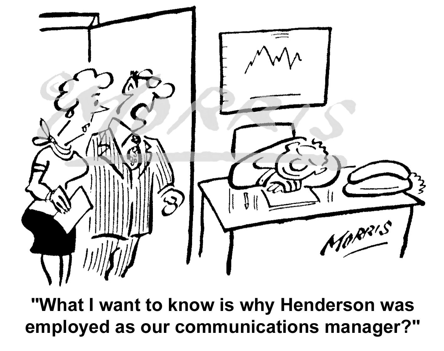 Communications Manager business comic cartoon – Ref: 5968bw