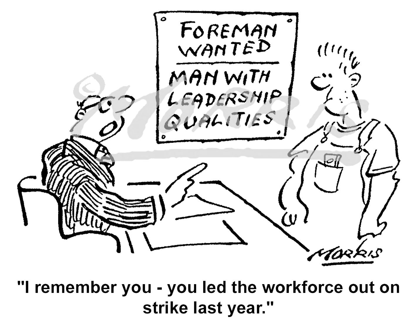 Shopfloor worker personnel interview cartoon – Ref: 5991bw