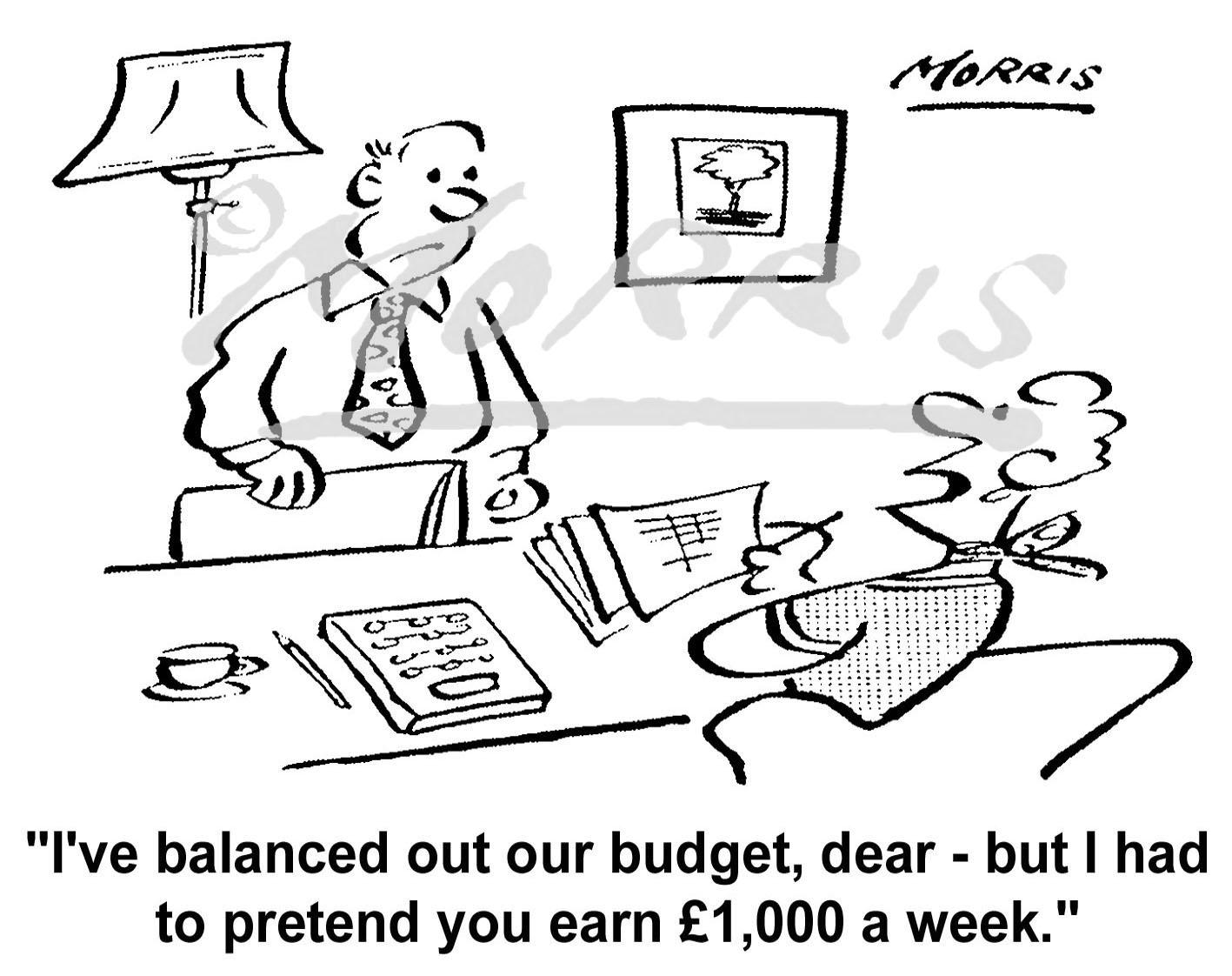 Family finance budget cartoon – Ref: 5996bw | Business cartoons