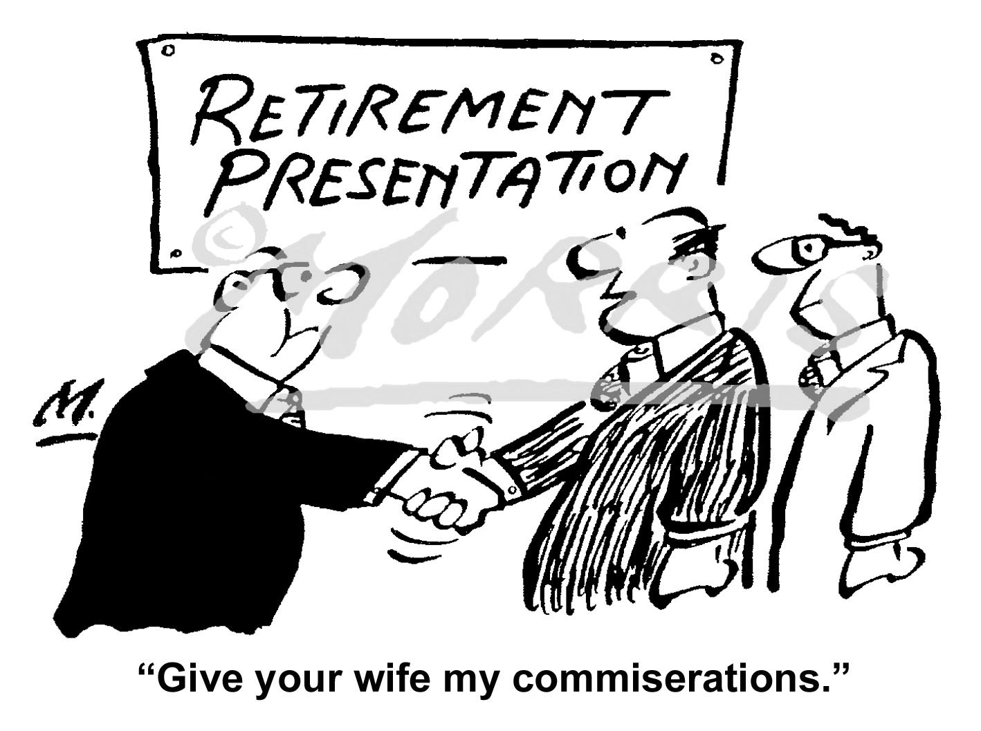 Retirement business cartoon – Ref: 6159bw