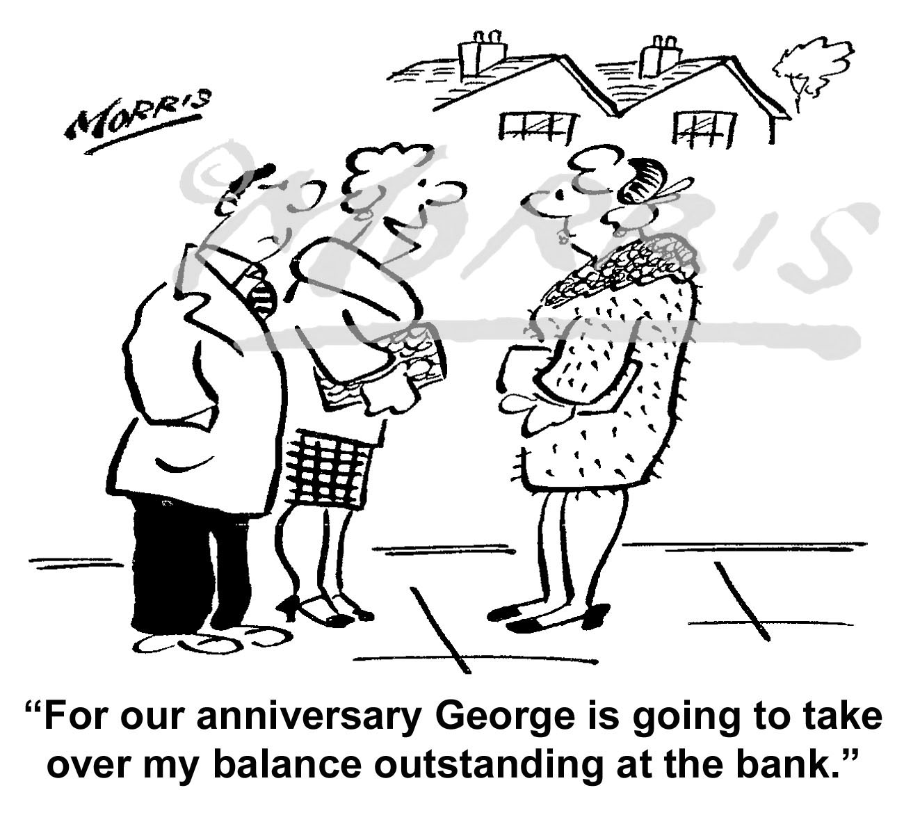 Bank balance cartoon – Ref: 6169bw