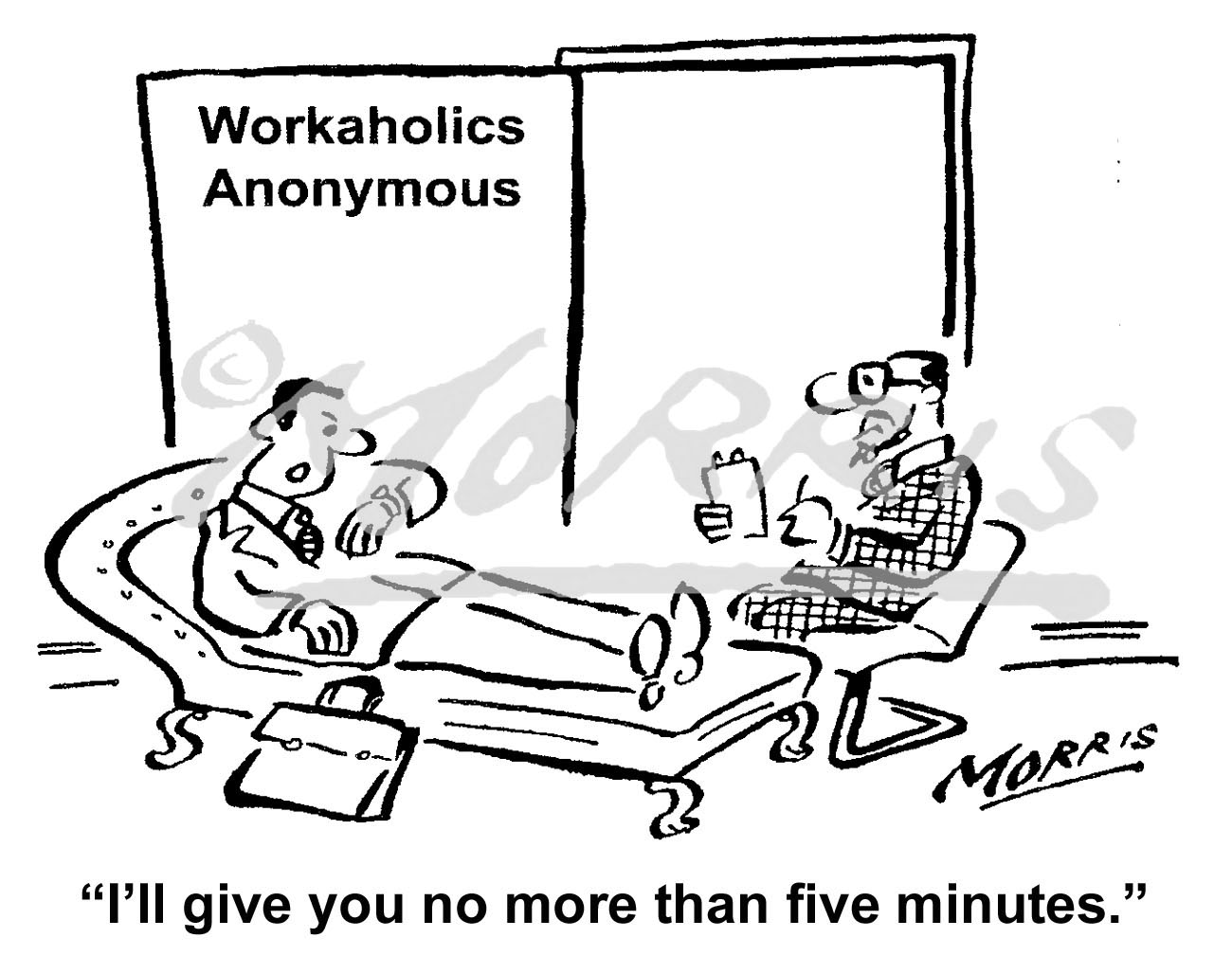 Workaholic business cartoon – Ref: 6177bw