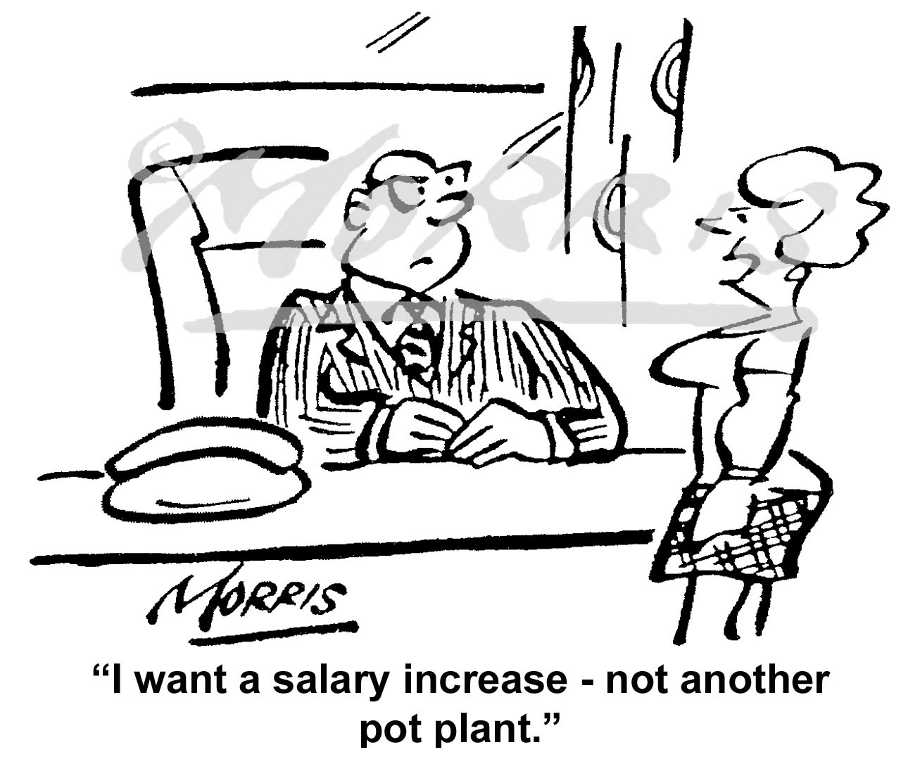 Pay rise, Salary increase cartoon – Ref: 6189bw