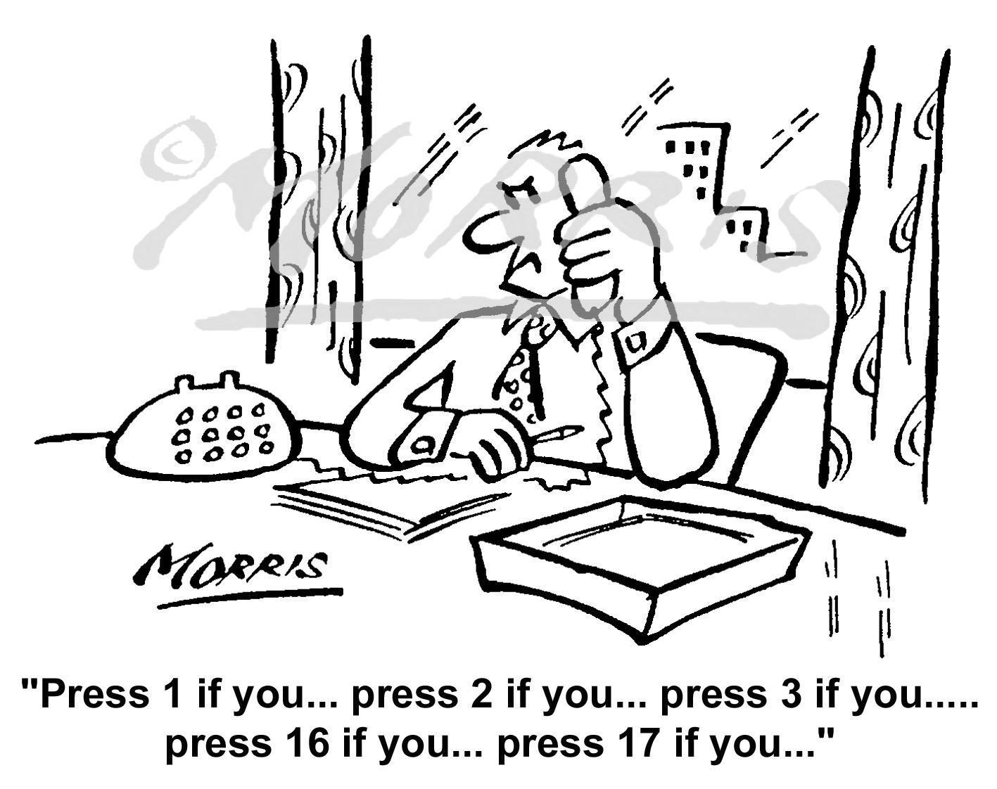 Customer service cartoon, Telephone cartoon – Ref: 6200bw