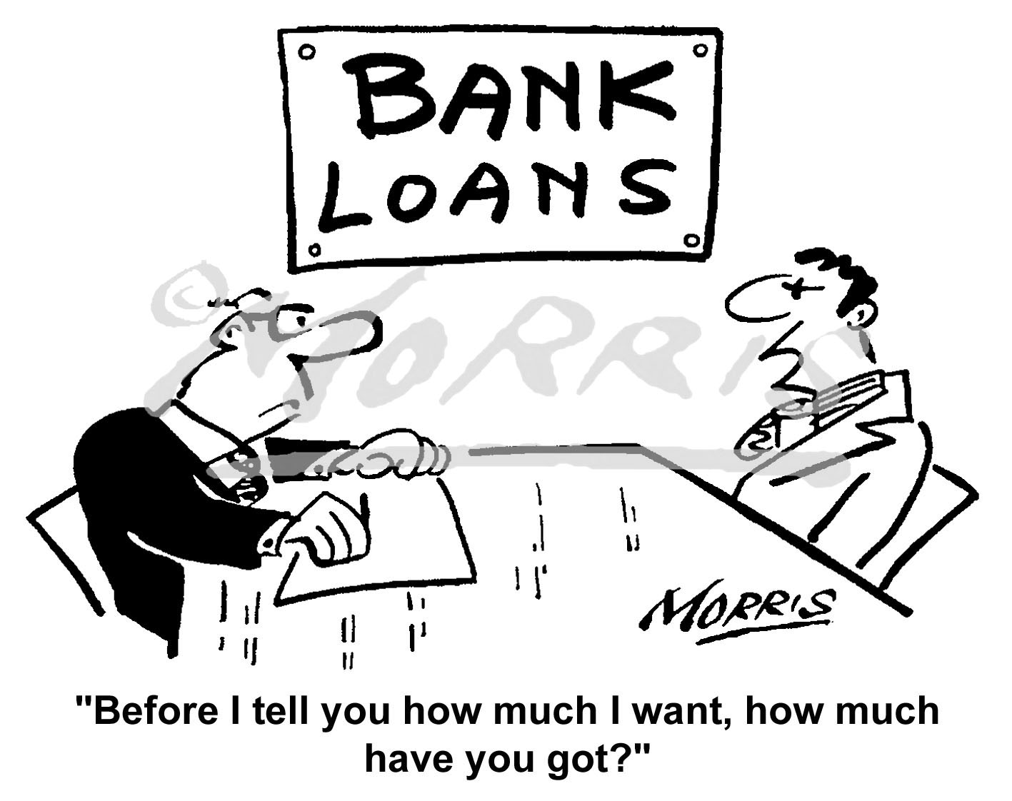 Bank manager loans business cartoon – Ref: 6204bw