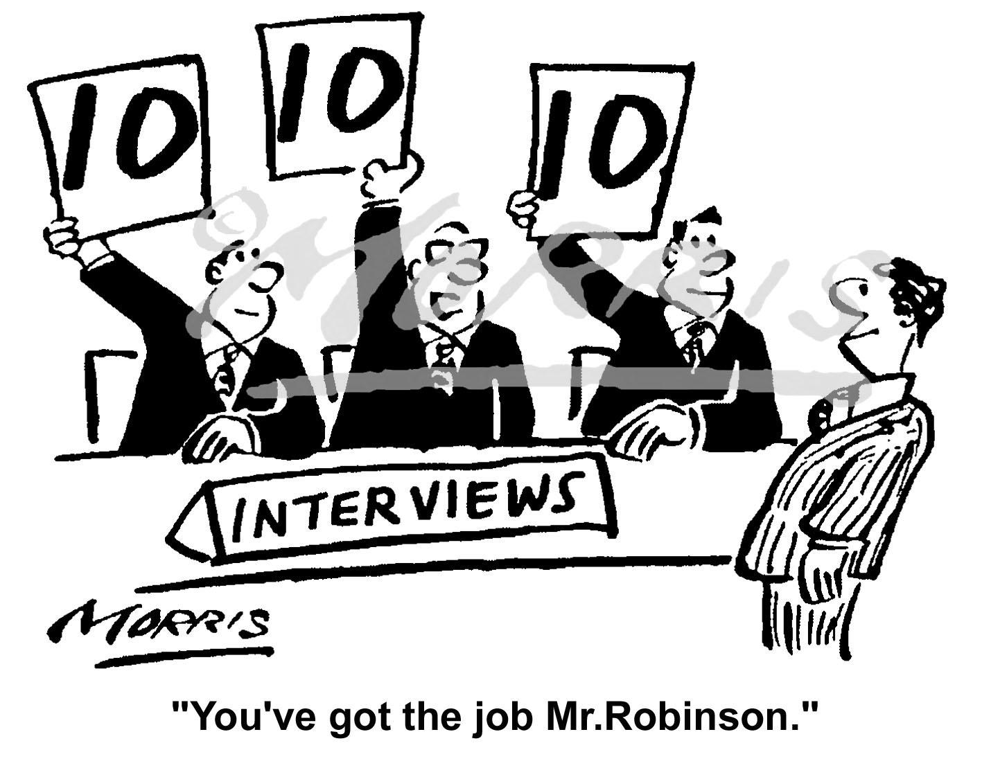 Recruitment, Hiring and Interview business cartoon – Ref: 6221bw
