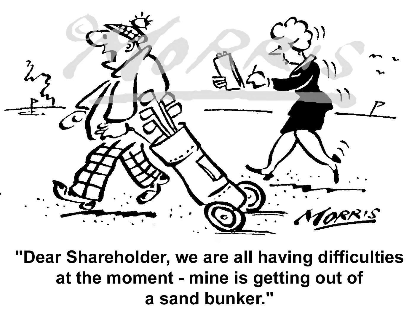 Golf business cartoon, Golfing cartoon, Golf course cartoon – Ref: 6480bw