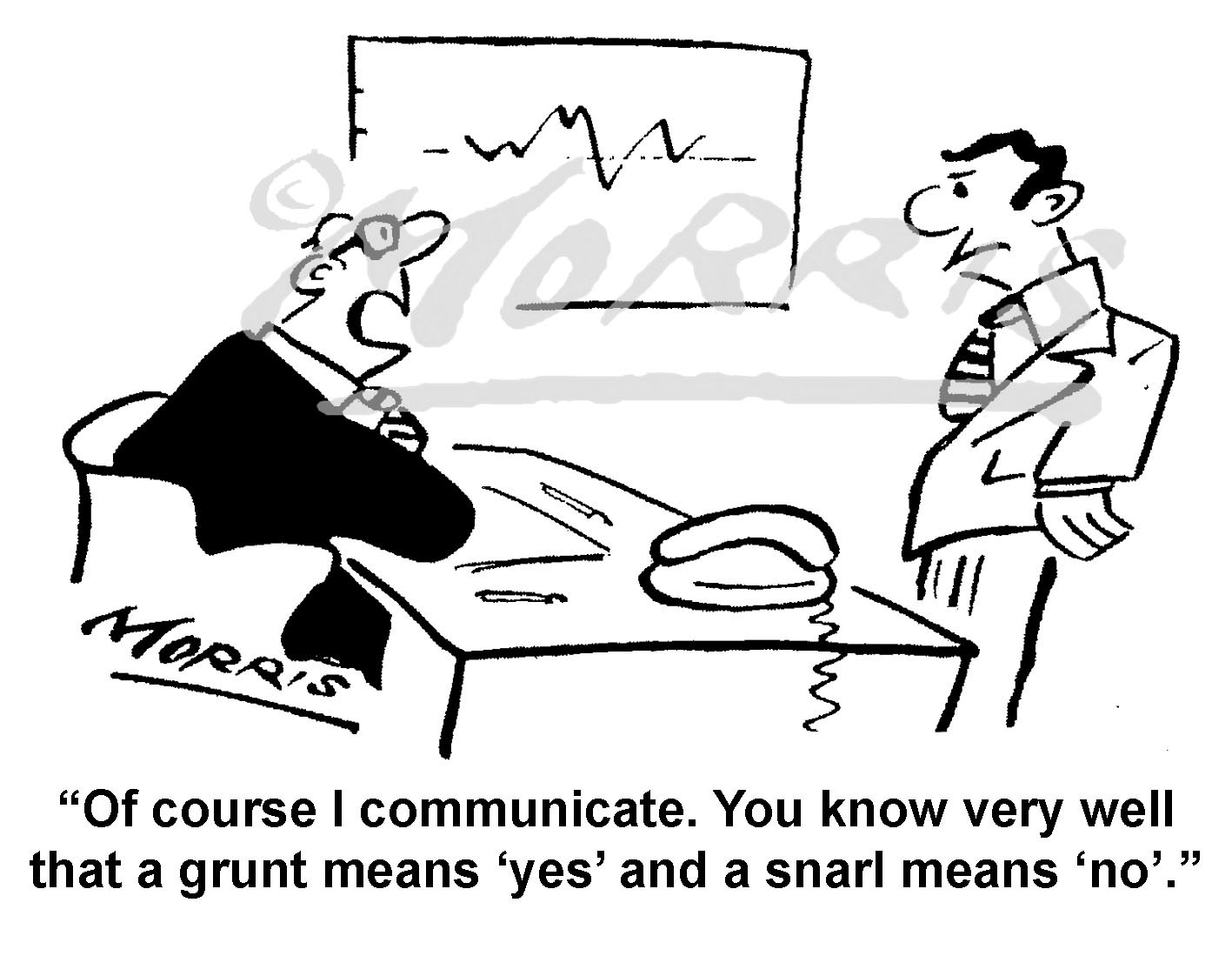 Manager and Employee communication business cartoon – Ref: 6797bw