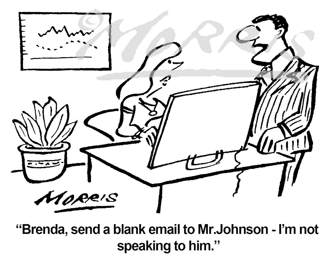 Email communication office cartoon – Ref: 7383bw